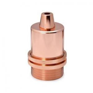Lamphållare E27 i kopparfärgad metall. Sockeln är utan jordskruv.