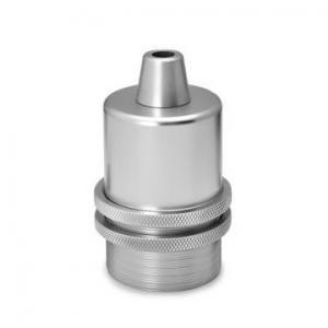 Lamphållare E27 i silver metall. Sockeln är utan jordskruv.