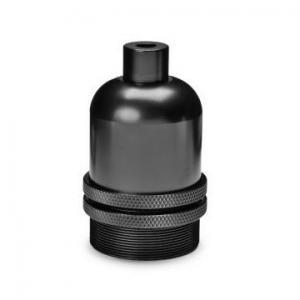 Lamphållare E27 i svart metall. Sockeln är utan jordskruv.