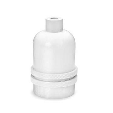Lamphållare E27 i vit metall. Sockeln är utan jordskruv.