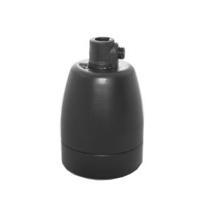 Lamphållare E27 porslin mattsvart, jordad