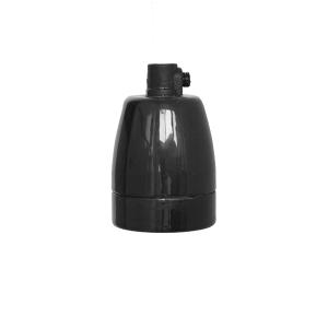 Lamphållare E27 porslin blanksvart, jordad