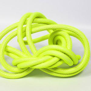 Neon gul (nät) textilkabel. Kabeln är ojordad och finns i flera olika längder.