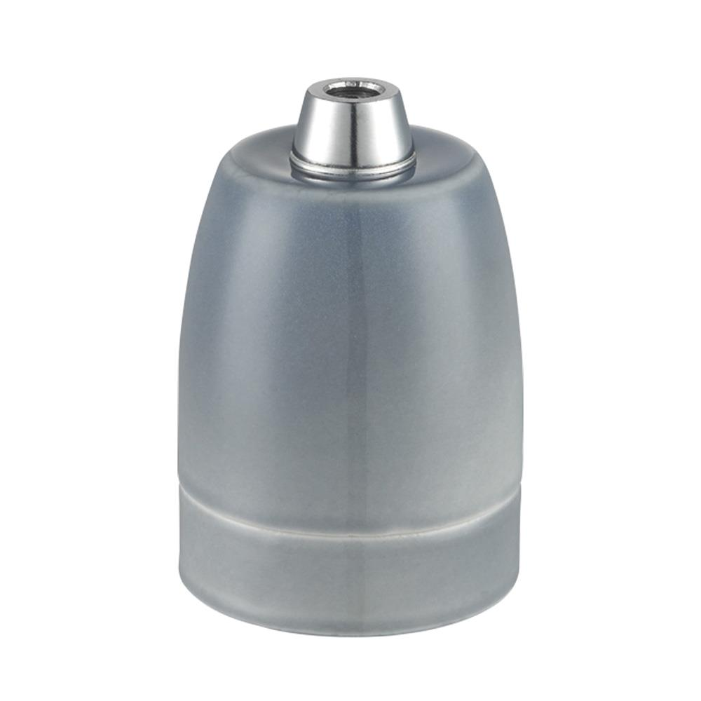 Lamphållare E27 porslin mattgrå, ojordad
