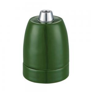 Lamphållare E27 porslin mattgrön, ojordad