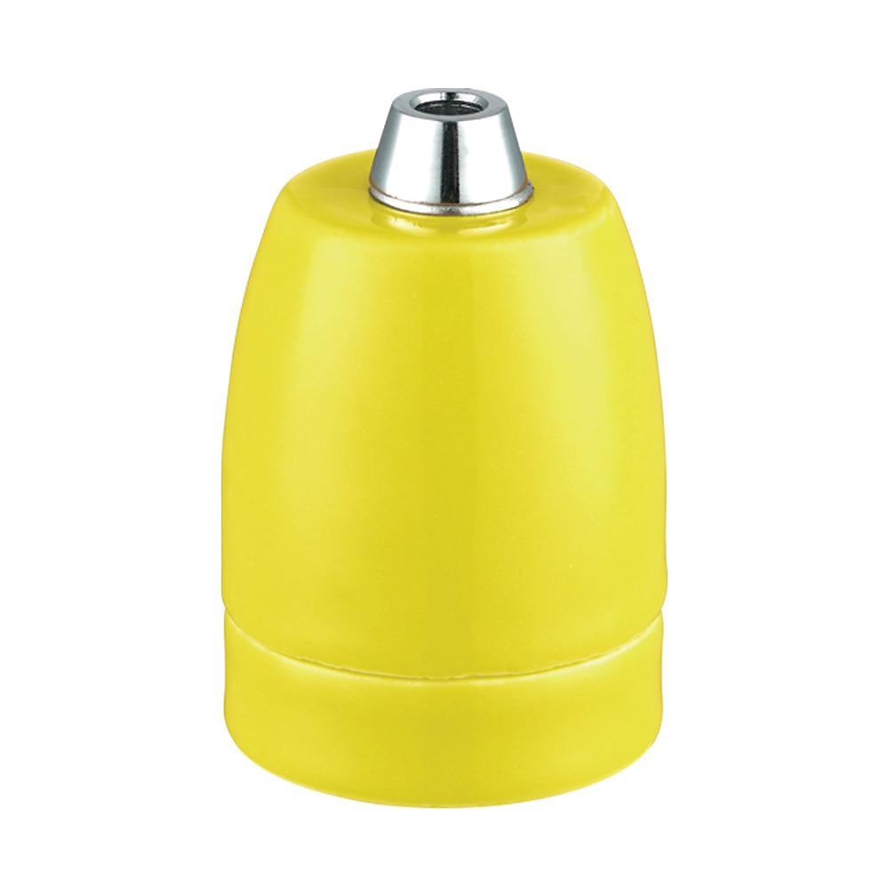 Lamphållare E27 porslin mattgul, ojordad