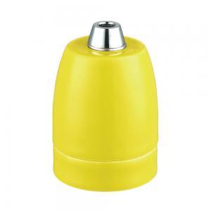 Lamphållare E27 porslin gul, ojordad