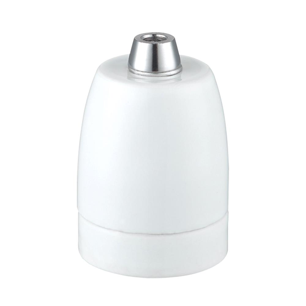 Lamphållare E27 porslin mattvit, ojordad