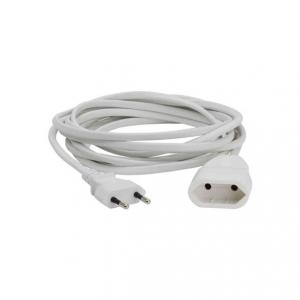4 meter skarvsladd med vit kabel. Ojordad och med europa-kontakt.