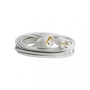 2 meter skarvsladd med vit kabel. Jordad och med petskydd.
