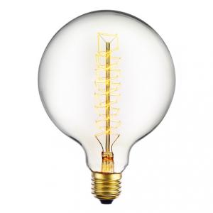Spiral glödlampa med en 125 millimeters glob E27 40W. Med ett varmt ljus.