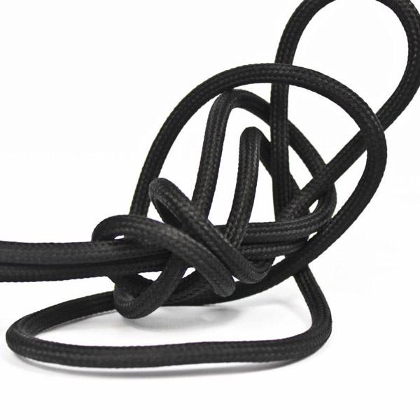 Svart textilsladd ojordad kabel. Finns i flera olika längder.