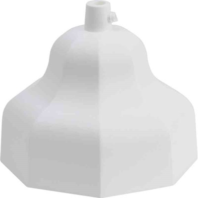 Vit åttakantig takkopp med sidoskruv. 115 mm i diameter.