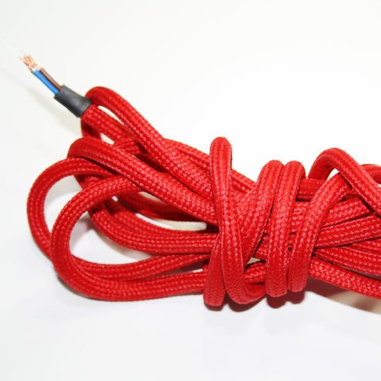 Textilkabel med vajer röd, jordad 3m