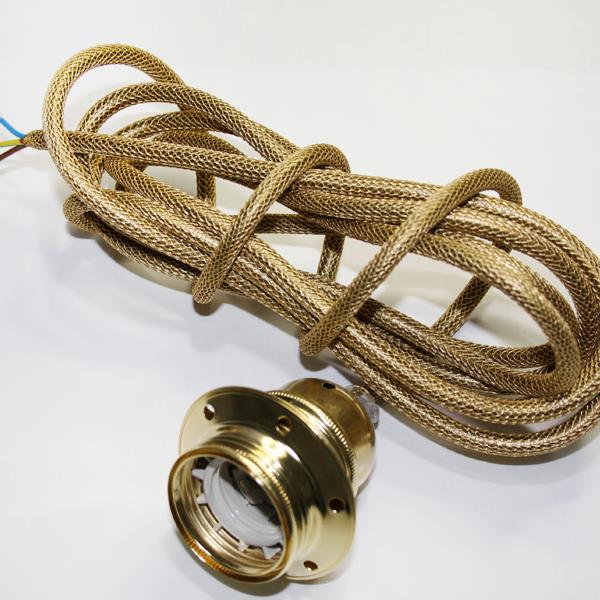 Textilupphäng i guldfärgad textilkabel (nät) med en mässings lamphållare. Kommer i längden 3 meter och är jordad.