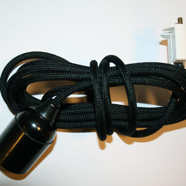 Textilupphäng (slät) svart/svart, 3m