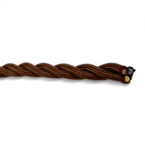 Textilkabel tvinnad brun, jordad