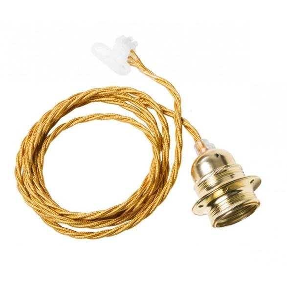 Twisted cable takupphäng från Watt och Veke. Kommer med guldfärgad tvinnad kabel med mässingsockel. Längd 2 meter.