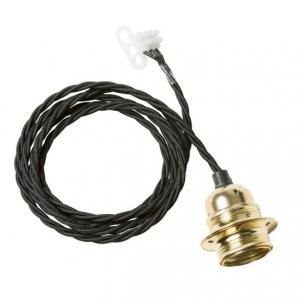 Twisted cable takupphäng från Watt och Veke. Kommer med svart tvinnad kabel med mässingsockel. Längd 2 meter.