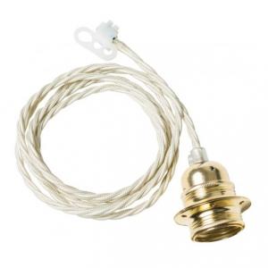Twisted cable takupphäng från Watt och Veke. Kommer med vit tvinnad kabel med mässingsockel. Längd 2 meter.