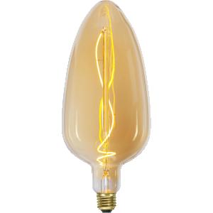 Vintage industrial led lampa i gult glas och varm filamenttråd.