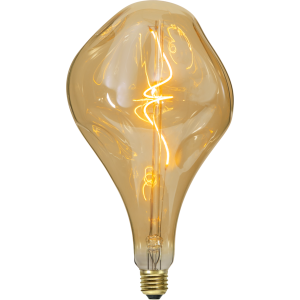 filament led glob med vintage stil och gult glas.