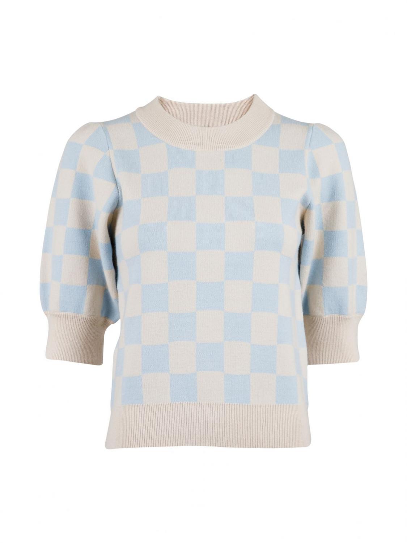 Abi Chess Knit Blouse Light Blue