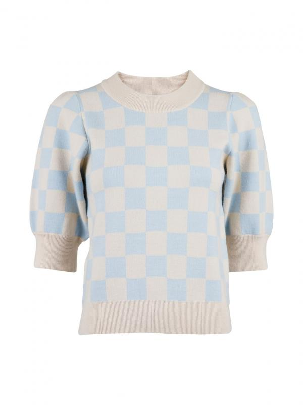 Abi Chess Knit Blouse Light Blue