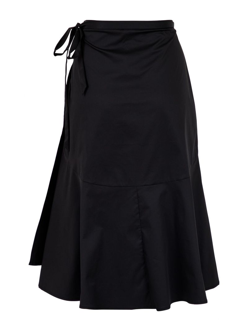 Anderson Poplin Wrap Skirt Black