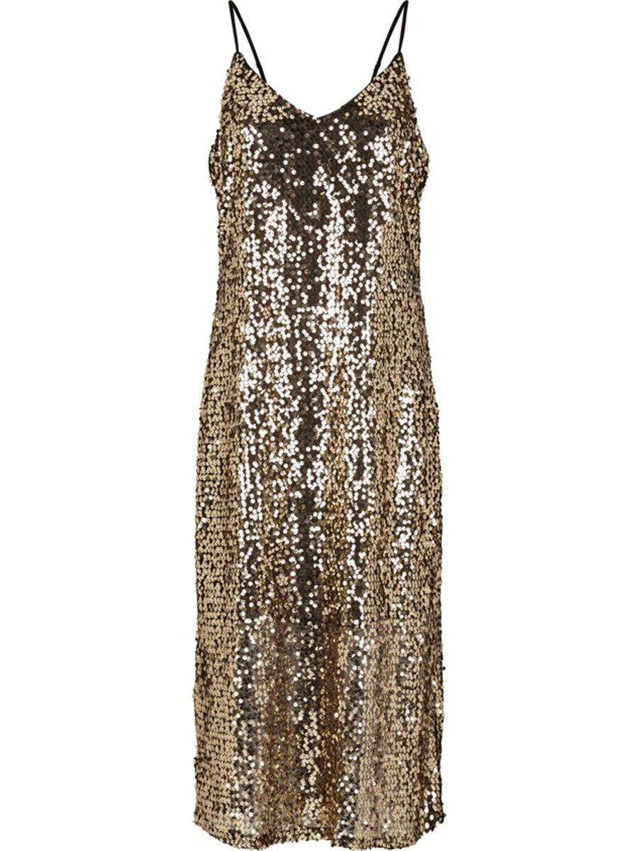 Call Strap Dress Pale Gold
