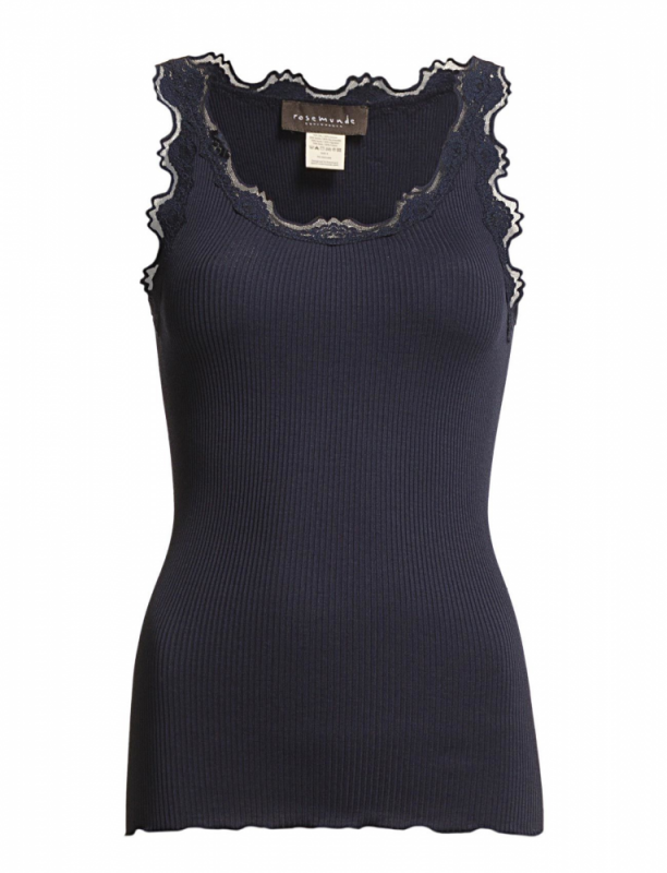 Silk Top W/Vintage Lace Navy