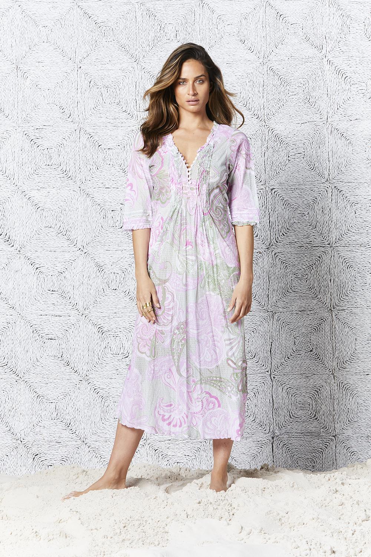 San Miguel Long Poppy Dress Lilac