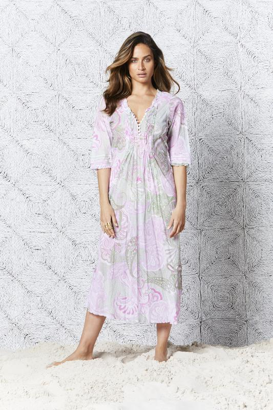 San Miguel Long Poppy Dress Lilac