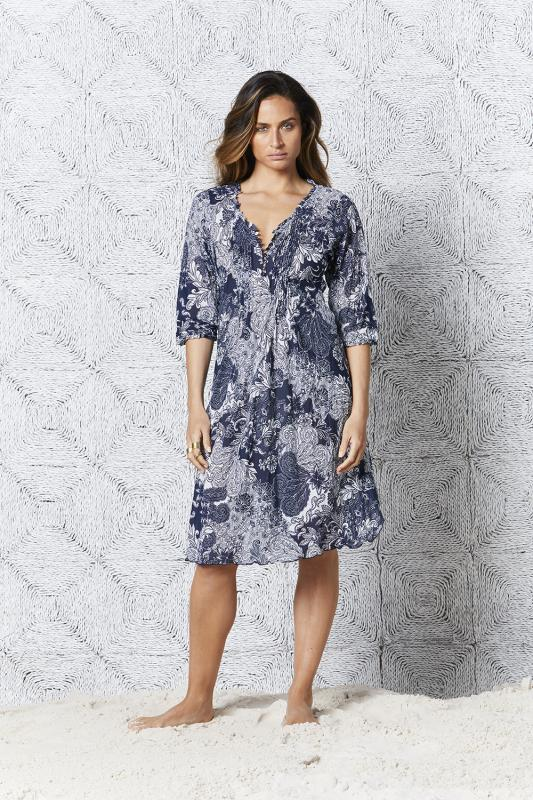 Faro Poppy Middy Dress Navy