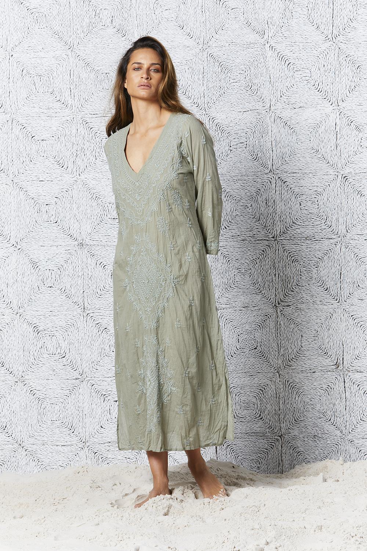 Embroidery Goa Dress Khaki