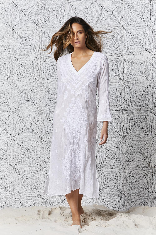 Embroidery Goa Dress White