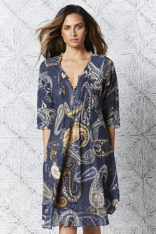 Carmel Poppy Middy Charcoal Dress