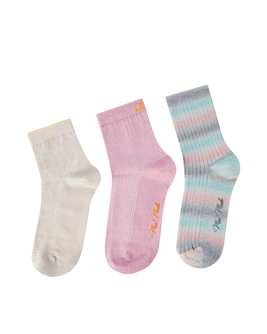 MM Lurex Socks Bubble Pink