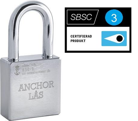 Anchor Hänglås 830-3 HB50, Klass 3