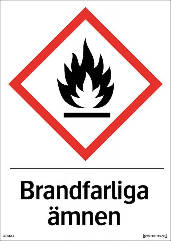 Skylt Brandfarliga ämnen A4