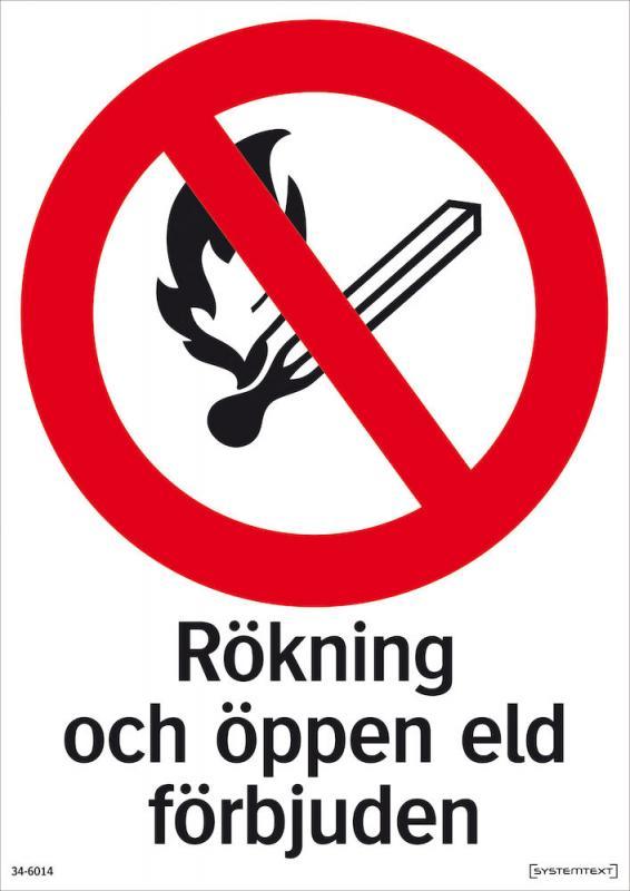 Förbudsskylt  Rökning och öppen eld förbjuden