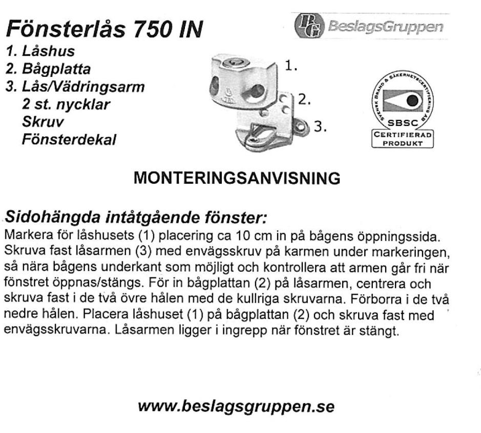 Fönsterlås BG750 inåtgående