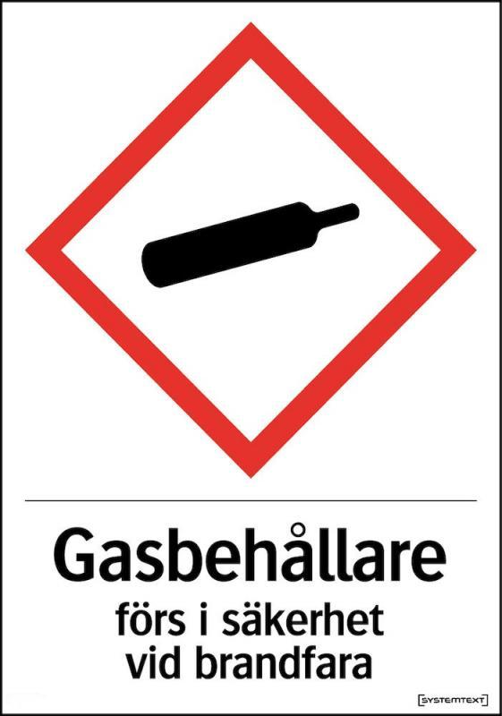 Skylt Gasbehållare förs i säkerhet vid brandfara A4