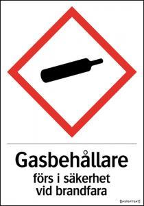 Dekal Gasbehållare förs i säkerhet vid brandfara A4
