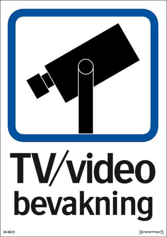Dekal skylt, TV/Video bevakning A5 självhäftande