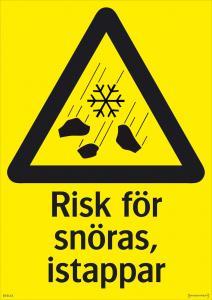 Varningsskylt Risk för snöras, istappar