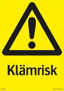 Varningsskylt Klämrisk