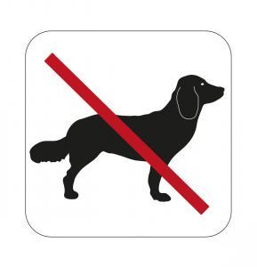 Dekal skylt, Hundförbud 80x80mm självhäftande