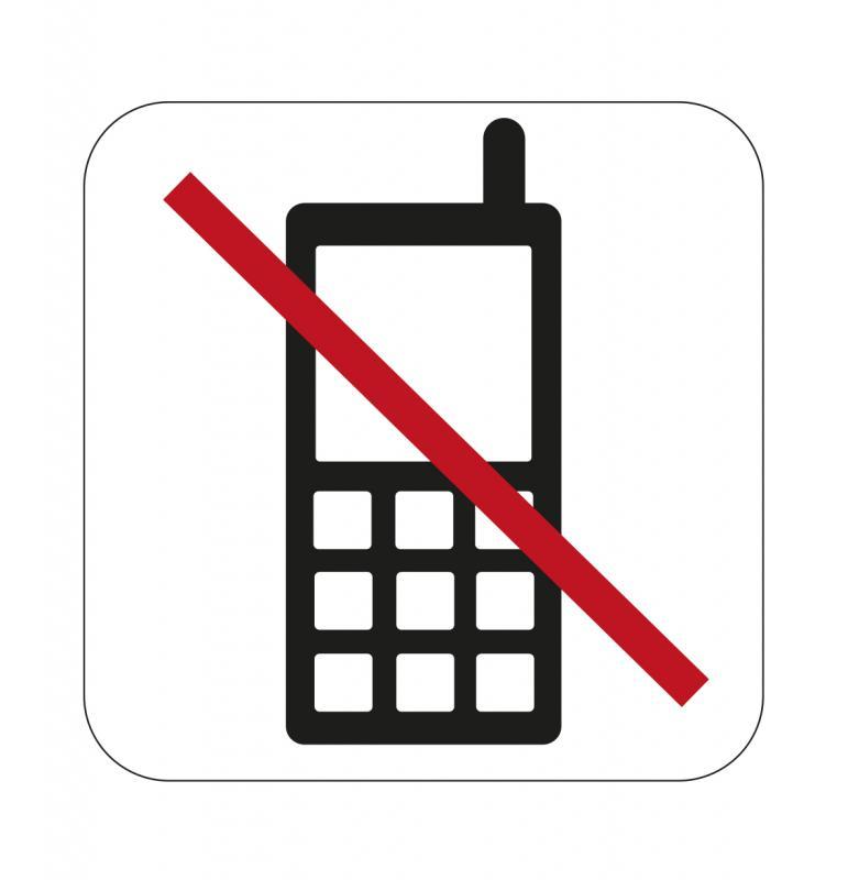 Dekal, Förbud mobiltelefon 80x80mm självhäftande