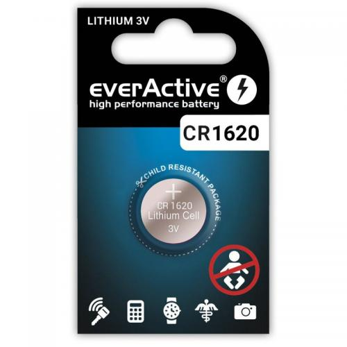 1 x batteri CR1620 litium mini everActive  Min.Leverans:10st